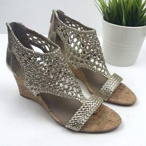 DONALD J PLINER 'Joli' Woven Metallic Wedge Sandal